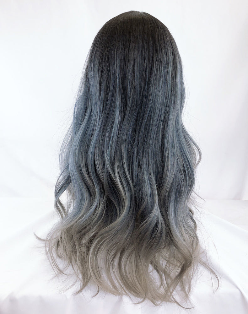 Harajuku blue-gray gradient long curly wig YV43581