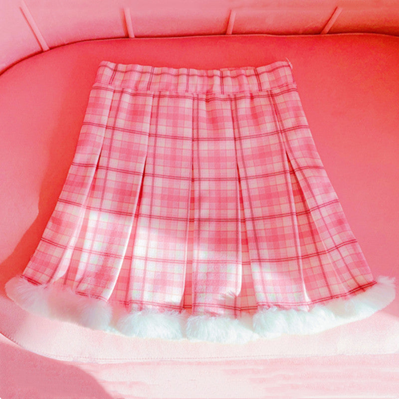 Pink and white plaid pleated skirt YV43619