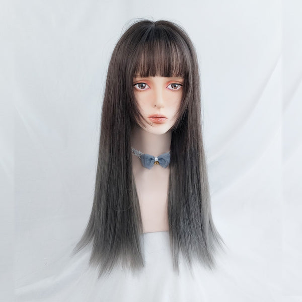 Gradient long straight wig YV42899