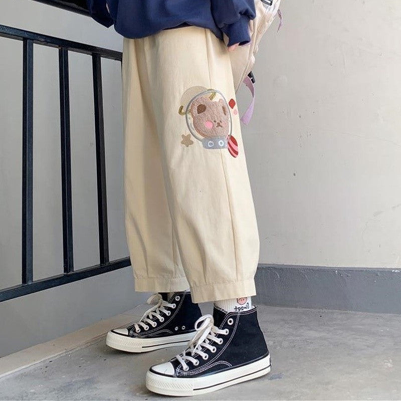 Cute bear embroidery casual pants YV43679