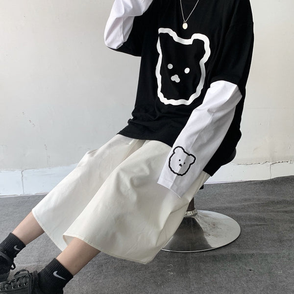 Cute bear print sweater yv42495