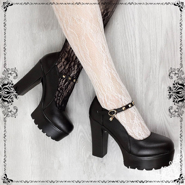 Black rivet Lolita high heels yv42575