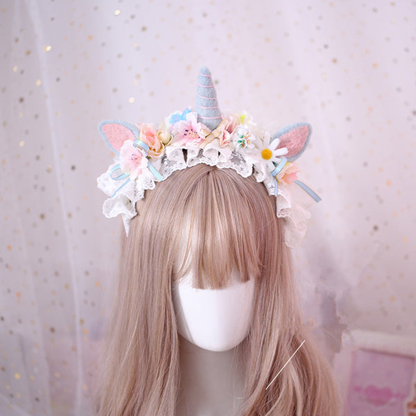 Lace flower unicorn headband yv42628