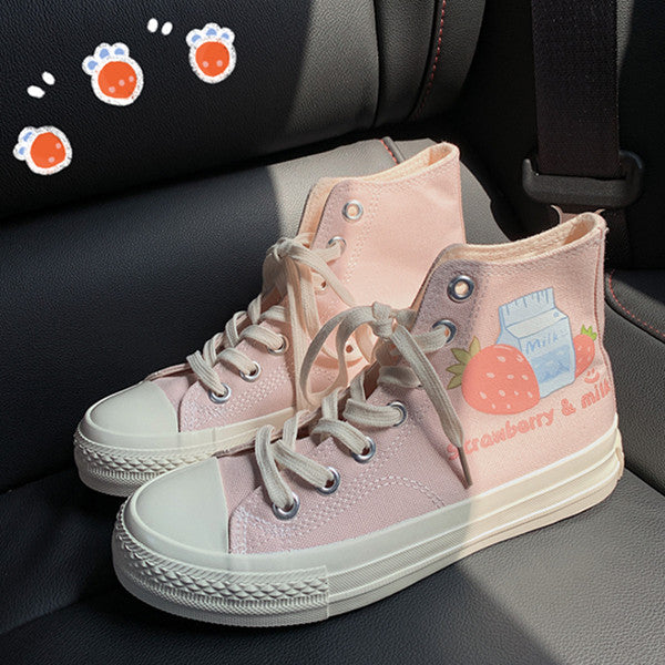Milk strawberry canvas shoes yv43431