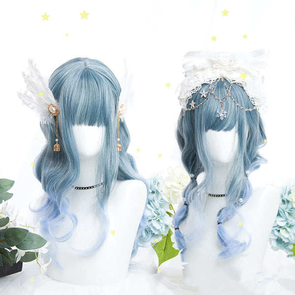 Water blue gradient long curly hair wig YV42509