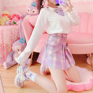 Love purple plaid pleated skirt YV43615