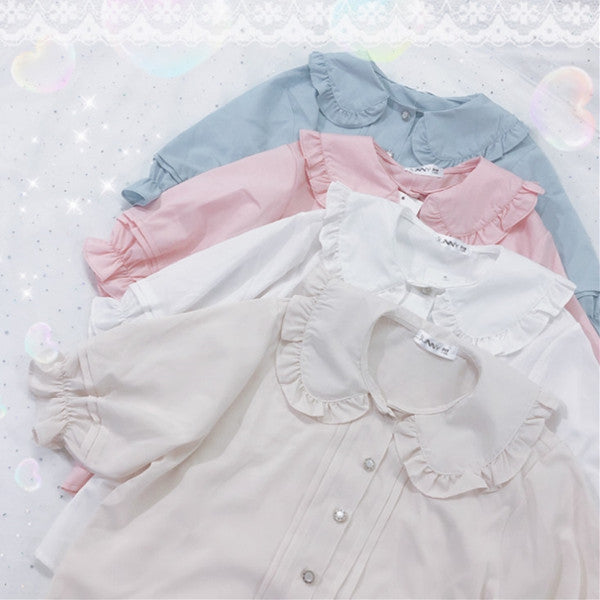 Cute doll collar button shirt yv42372