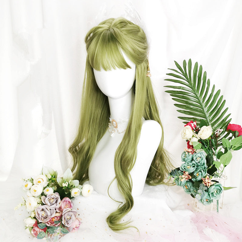 lolita green long curly wig yv42834