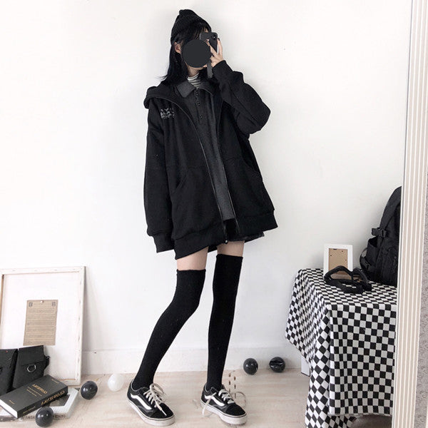 Punk plus velvet hooded sweater yv42351