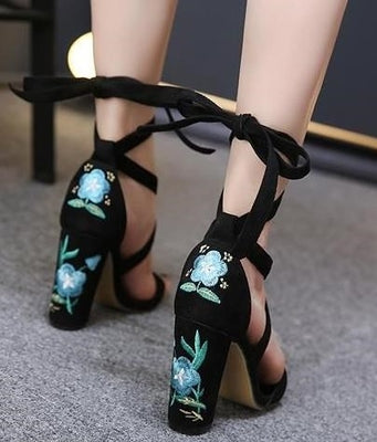 rose embroidered high heels yv17062  youvimi