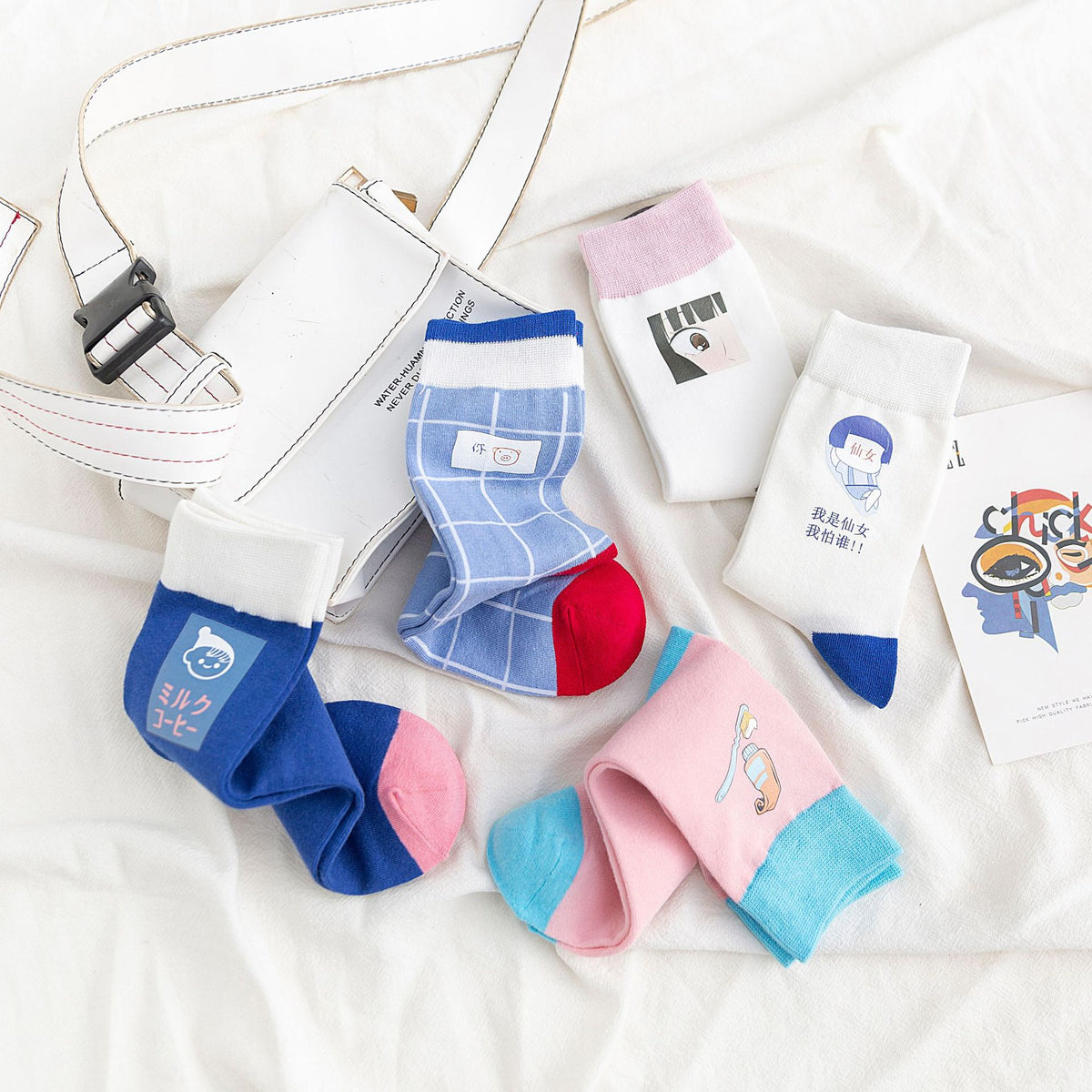 Japanese children's fun no face cotton socks YV42536
