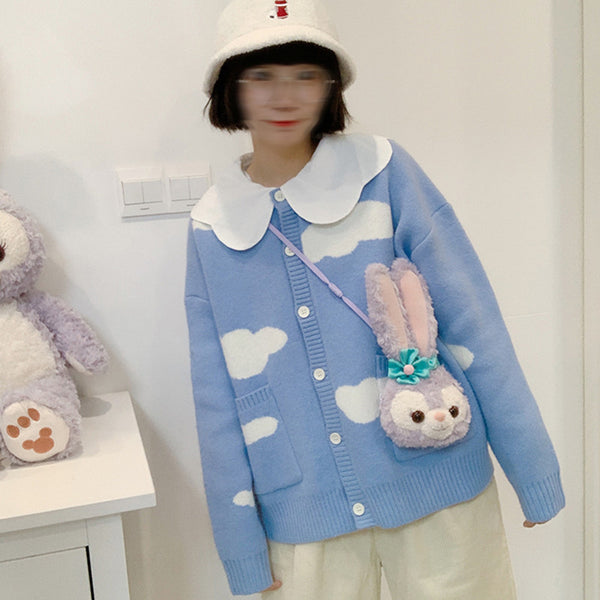 Cute white cloud blue sweater yv43529