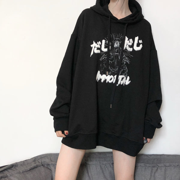 Dark graffiti printed hooded sweater yv42528