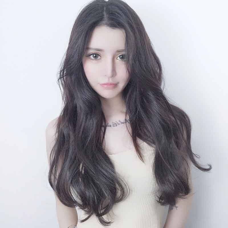 Black Brown Long Curly Hair Wig YV43688