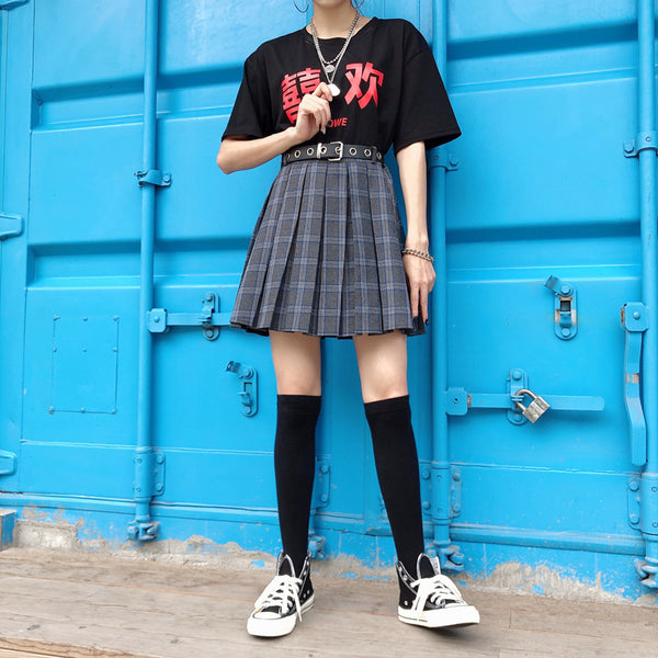 Korea ins girl Harajuku large size pleated skirt YV42539
