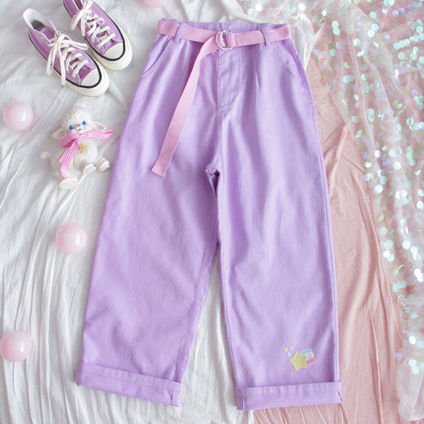 Purple wide leg pants yv42584