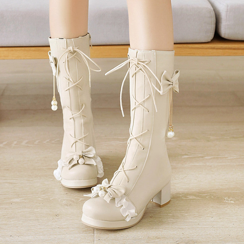 Lolita bow middle boots YV43664