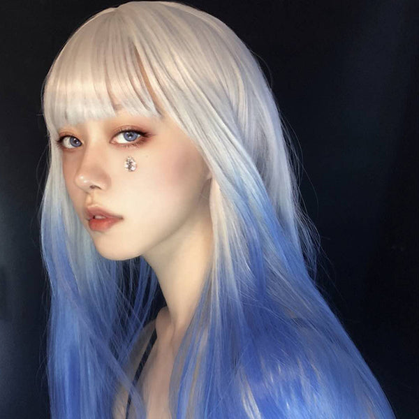 Silver white gradient blue long wig YV43658