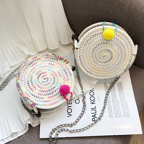 Cute embroidered line round bag yv42247
