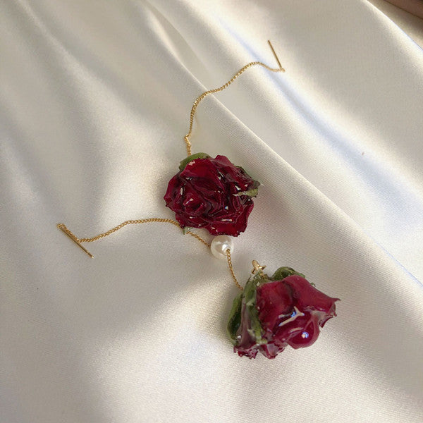 Red rose flower long earrings yv42321