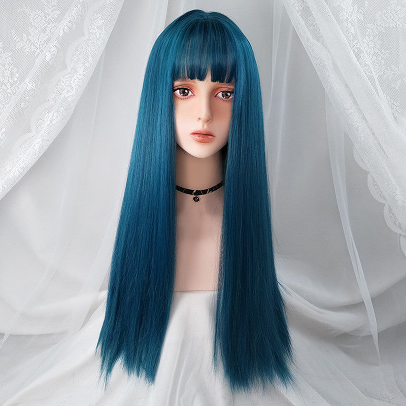 Teal Long Straight Hair Wig YV43692