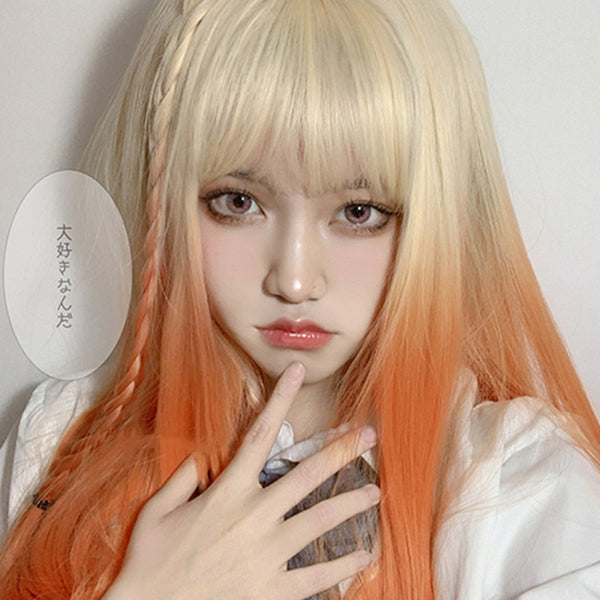 Gradient orange long wig YV43666