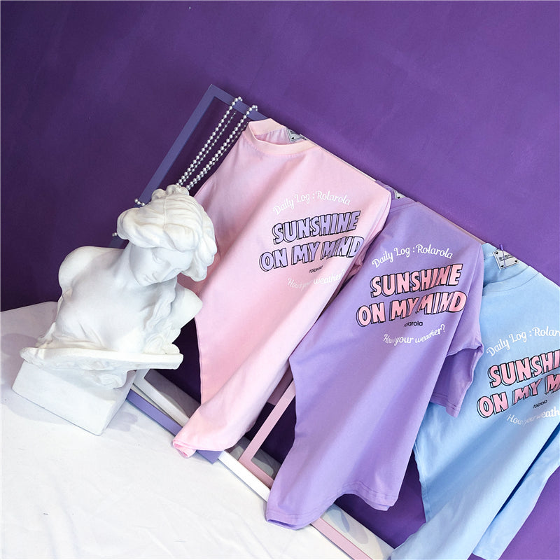 Purple pink blue letter print T-shirt YV42933