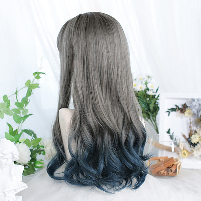 Cyan gray gradient blue long curly hair wig YV43697