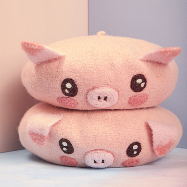 Cute pink pig beret yv42593