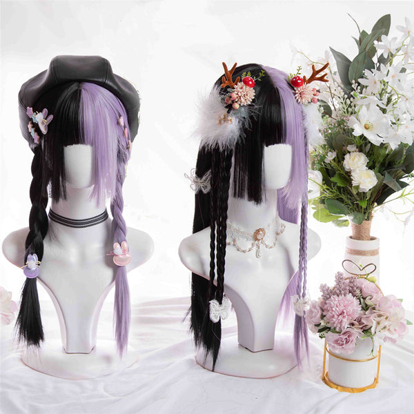 Black + Purple Long Straight Wig YV43665