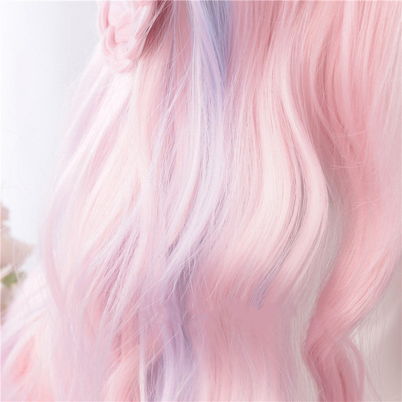 Lolita pink mixed blue long curly wig YV43570