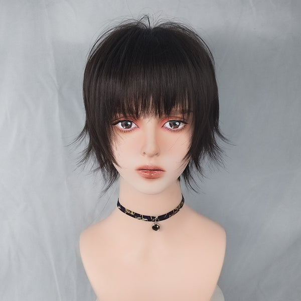 Harajuku brown black short wig YV43561