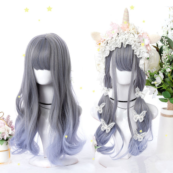 Gray-blue gradient wig YV42508