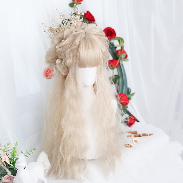 Lolita light golden long curly wig yv43603
