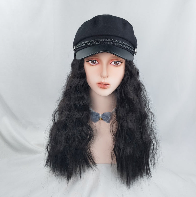 Navy black hat wig YV42898