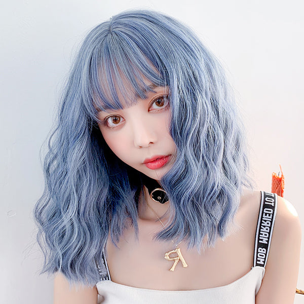 Cute blue roll wig yv42589