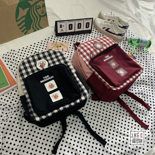Vintage Plaid Backpack YV41117