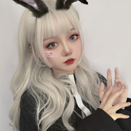 Lolita milky gray gradient long curly wig YV43580