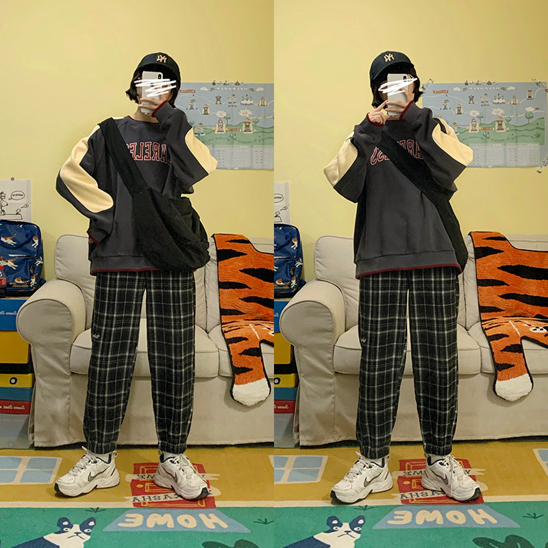 Harajuku plaid casual pants yv43528