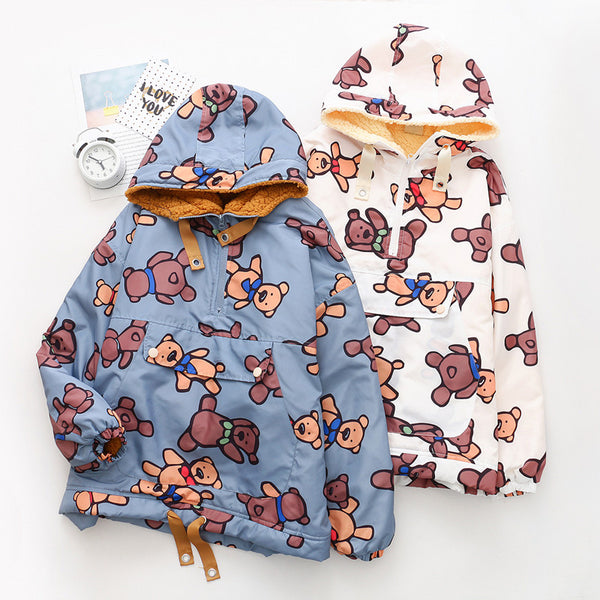 Cute bear print hooded jacket YV43536