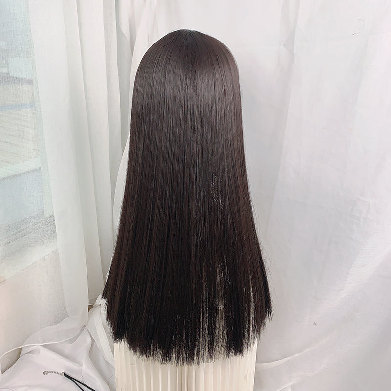 Natural black medium long wig YV43429