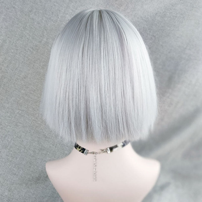Silver white natural fluffy short straight hair YV42697