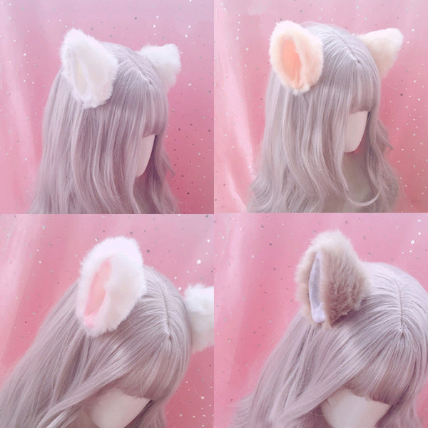Cute plush cat ears hair clip yv42323