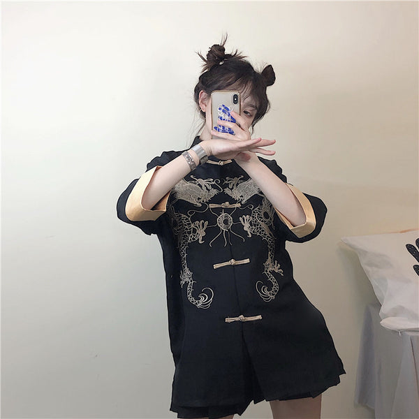Vintage embroidered dragon shirt jacket yv42215