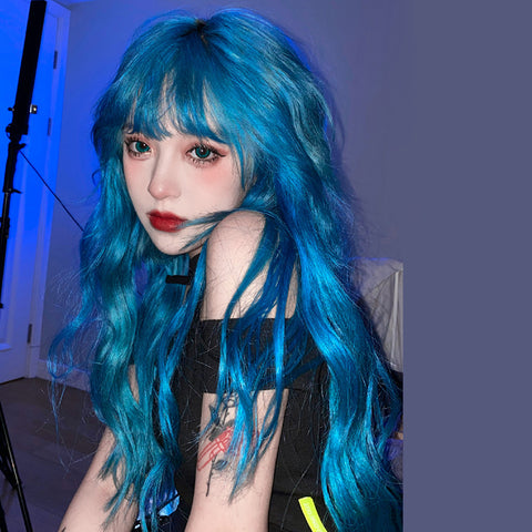 Blue lolita long curly hair wig YV43854