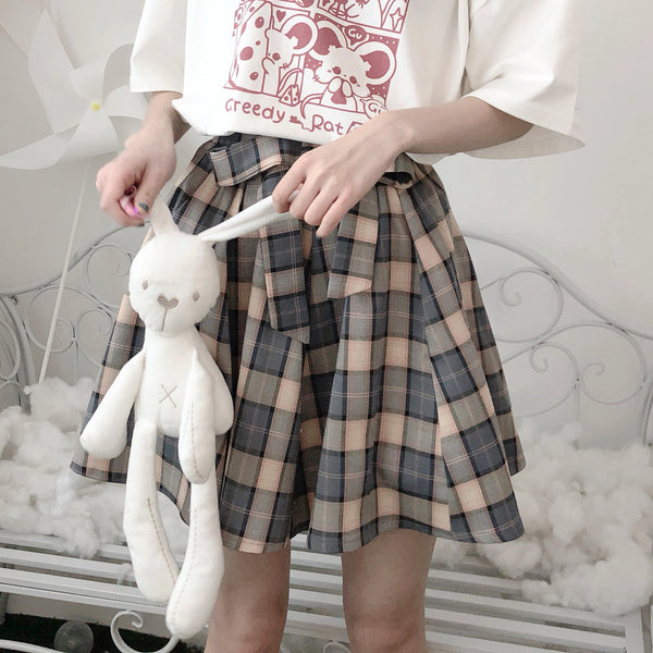 Bowknot plaid skirt YV42961