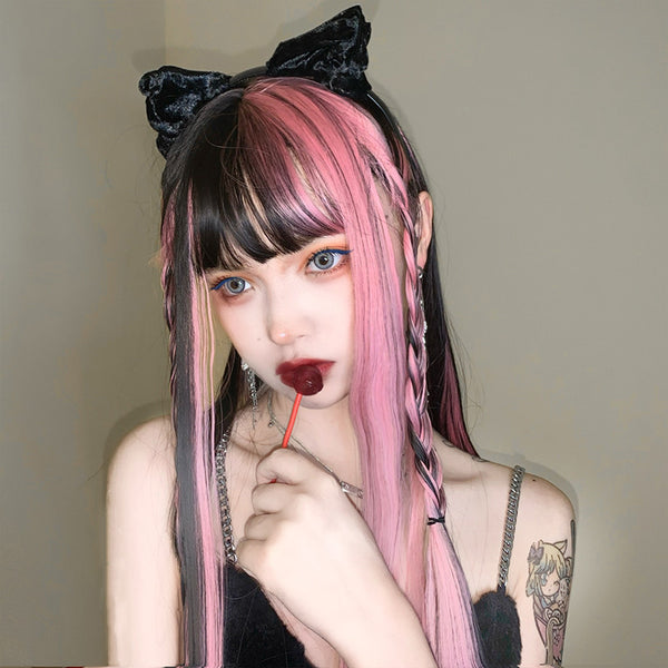 Harajuku black mixed pink long wig YV43646