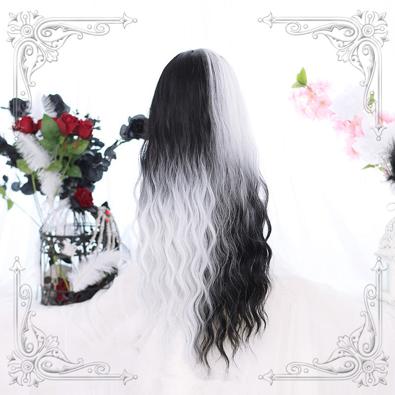 Lolita black and white color matching wig yv42870