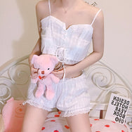 Cute lace top + shorts pajamas two-piece yv42214