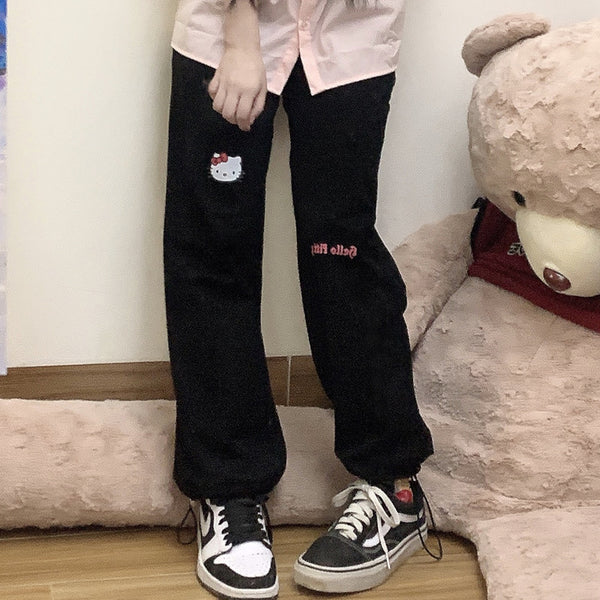 KT cat embroidery casual pants YV43655